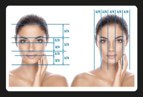 Mithilfe einer Nasenkorrektur lässt sich die Größe einer Nase ideal zu anderen Gesichtsmerkmalen proportionieren. Das Bild zeigt das Gesicht einer Frau, auf dem die Proportionen von Mund, Nase, Augen etc. mithilfe von Linien erfasst sind.